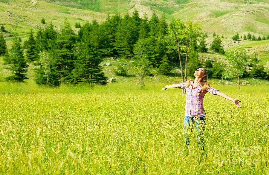 Happy Girl Enjoying Nature Photograph