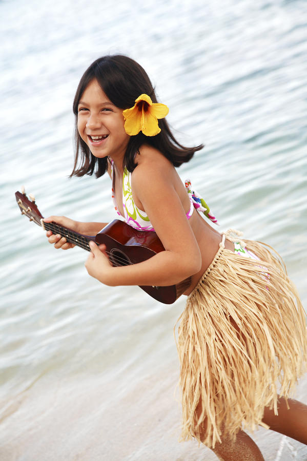 Happy Girl With Ukulele Photograph  - Happy Girl With Ukulele Fine Art Print