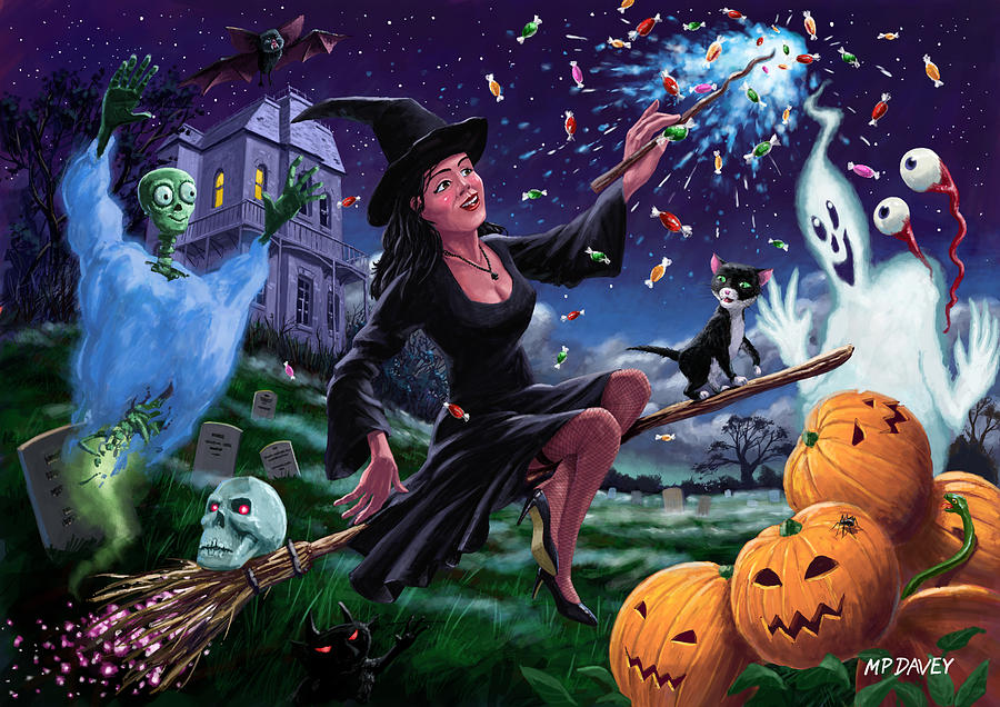 Happy Halloween Witch With Graveyard Friends Painting  - Happy Halloween Witch With Graveyard Friends Fine Art Print