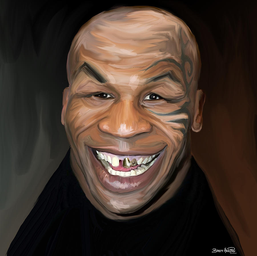 Happy Iron Mike Tyson Painting  - Happy Iron Mike Tyson Fine Art Print
