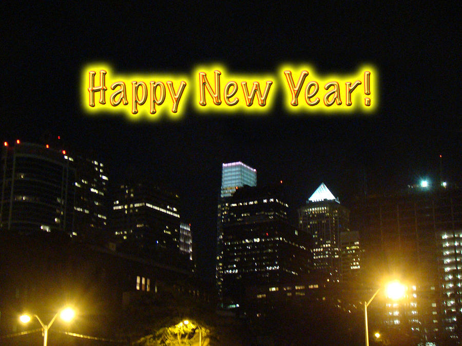Happy New Year Greeting Card - Philadelphia At Night Photograph