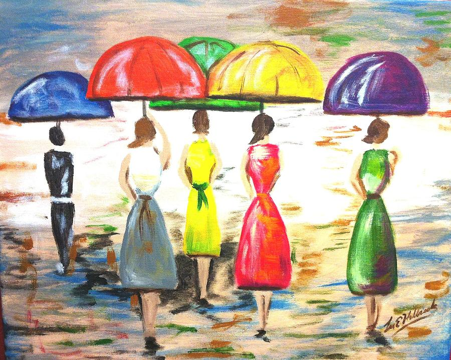 Happy Umbrellas Painting  - Happy Umbrellas Fine Art Print
