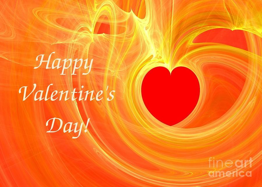 Happy Valentine Day Fractal Design Greeting Card Digital Art