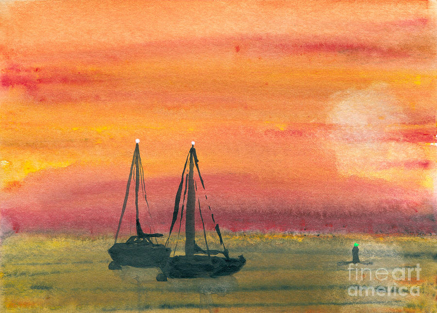 Art Artwork Painting Kyllo Sailboat Sail Sea Ocean Water Saltwater Boat Ship Blue Silhouette Watercolor Mast Dark Night Moored Mooring Orange Buoy Maritime Navigational Aid White Light Peace Peaceful Calm Calming Relax Relaxed Relaxing Restful Quiet Lights Painting - Harbor Colors by R Kyllo
