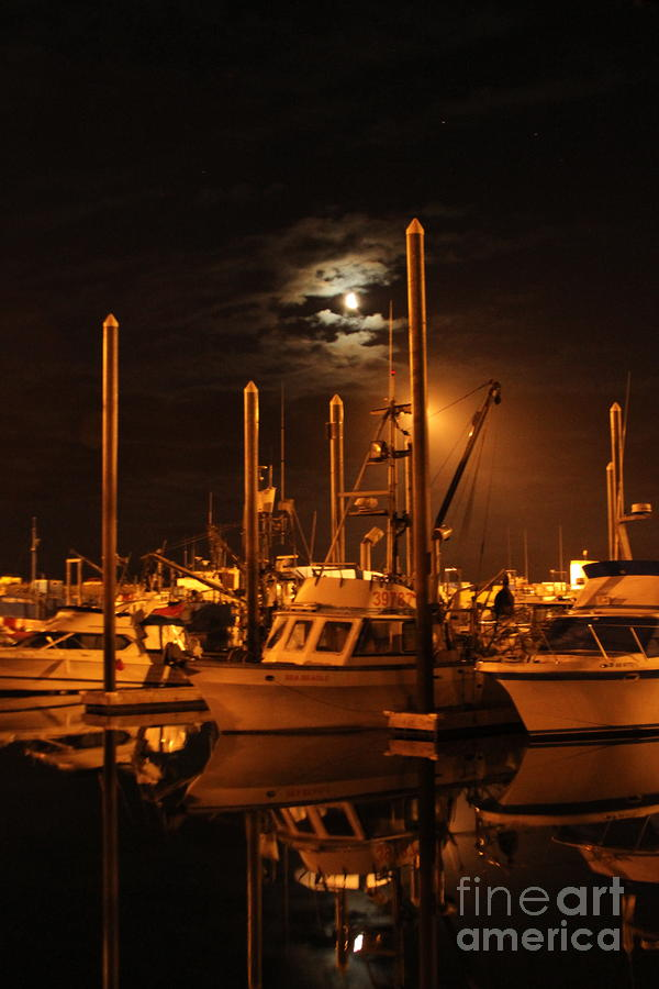 Harbor Moon Photograph  - Harbor Moon Fine Art Print