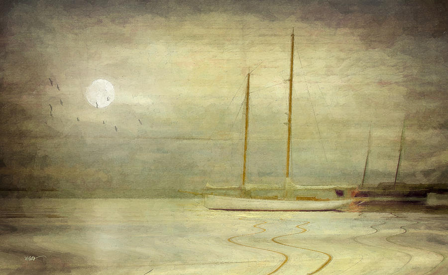 Harbor Moonlight Mixed Media  - Harbor Moonlight Fine Art Print