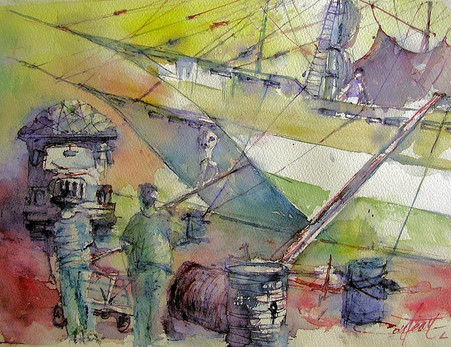 Harbor Of Jakarta  Indonesia Painting