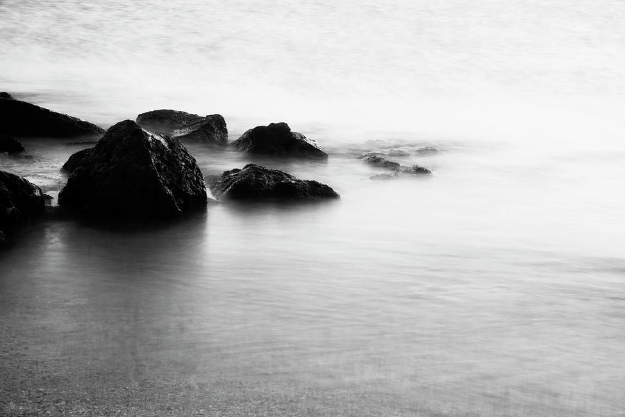 Harbor Rocks And Misty Ocean I Photograph  - Harbor Rocks And Misty Ocean I Fine Art Print