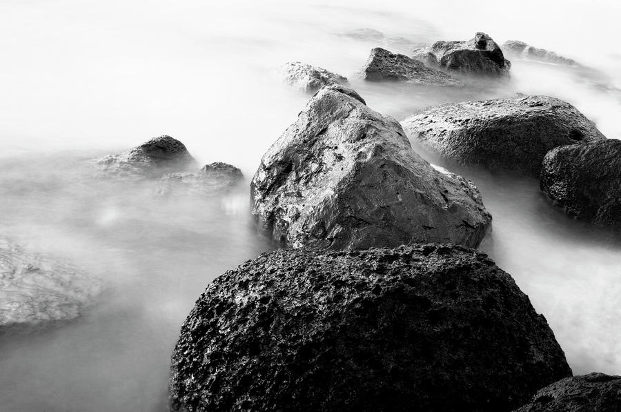 Harbor Rocks And Misty Ocean II Photograph