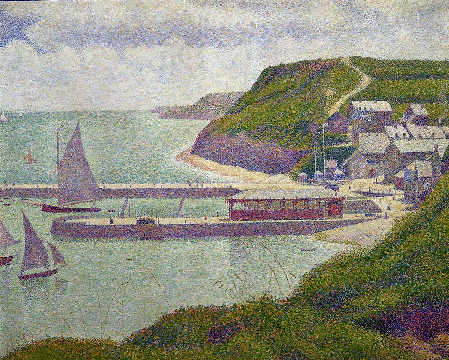 Harbour At Port En Bessin At High Tide Painting