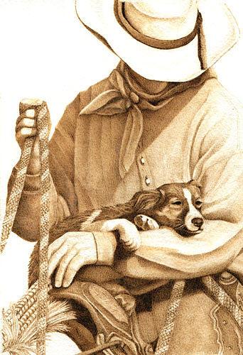 Cowboy Drawing - Hard Days Night by Cate McCauley