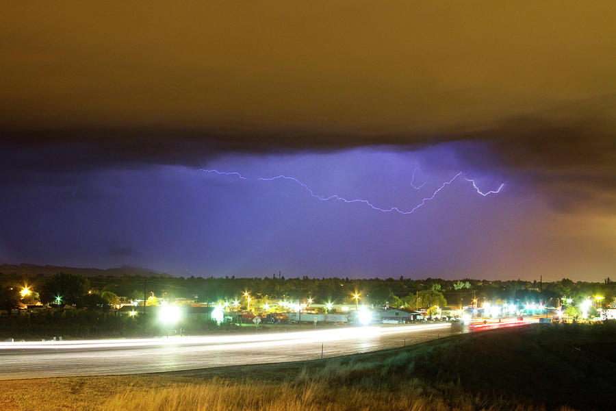 Hard Rain  Lightning Thunderstorm Over Loveland Colorado Photograph  - Hard Rain  Lightning Thunderstorm Over Loveland Colorado Fine Art Print
