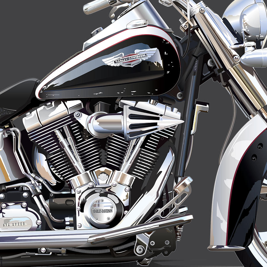 Harley Davidson Detail Drawing  - Harley Davidson Detail Fine Art Print