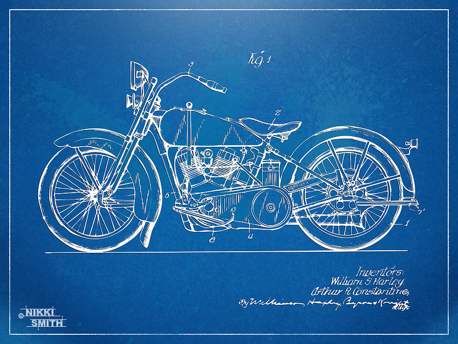 Harley-davidson Motorcycle 1928 Patent Artwork Digital Art