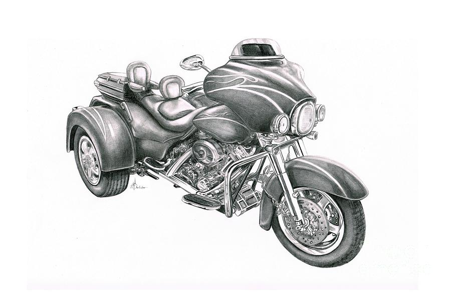Motorcycle Drawing - Harley Davidson Trike by Murphy Elliott