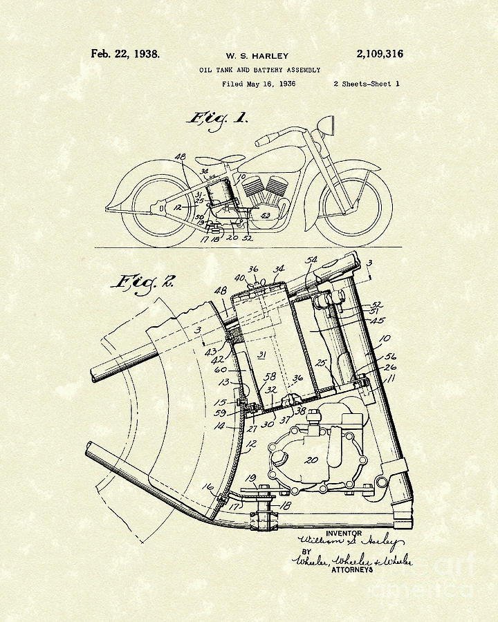 Harley Motorcycle 1938 Patent Art Drawing