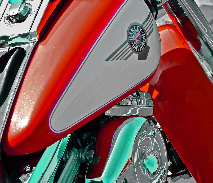 Harley Usa Red Photograph