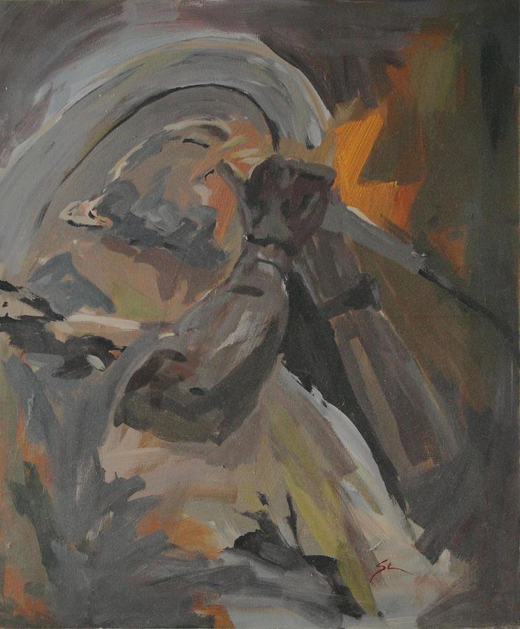 Harmonica Man Painting