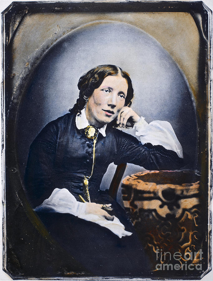 Harriet Beecher Stowe (1811-1896). American Abolitionist And Writer. Oil Over A Daguerrotype, C1852 Photograph