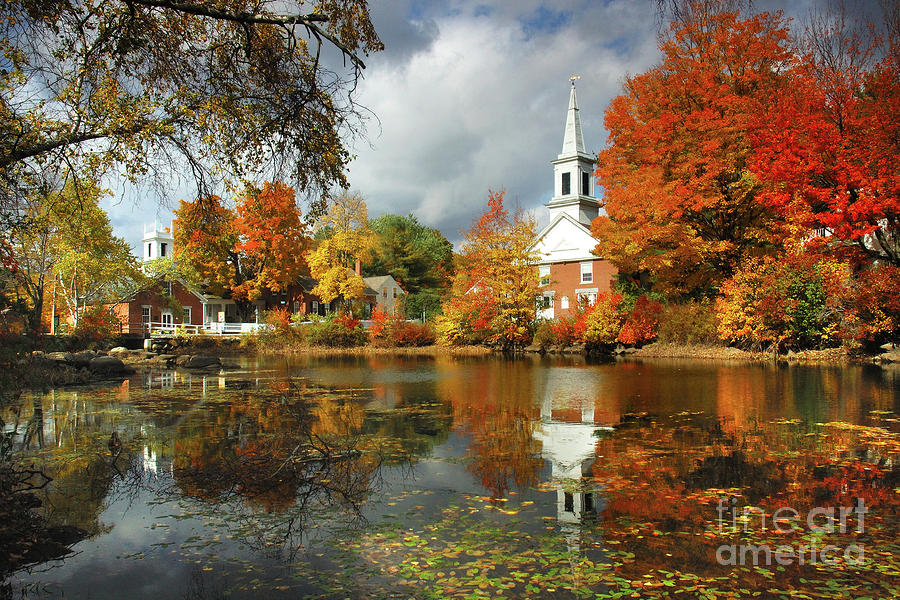 Harrisville New Hampshire - New England Fall Landscape White Steeple Photograph