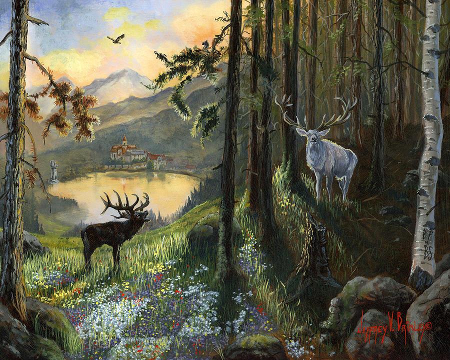 Deer Painting - Harts Gambit by Jeff Brimley