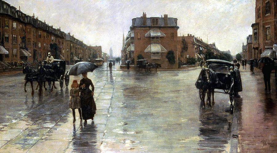 Hassam: Rainy Boston, 1885 Photograph
