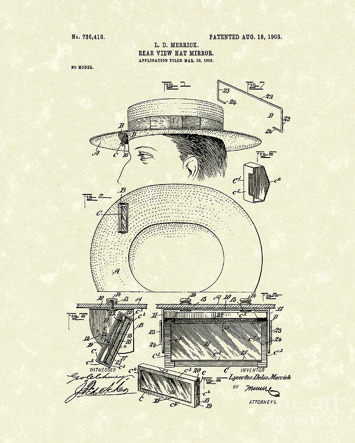 Merrick Drawing - Hat Mirror 1903 Patent Art by Prior Art Design