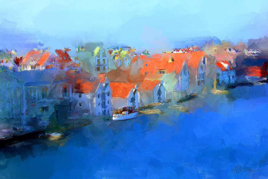 Haugesund Harbour Norway Painting  - Haugesund Harbour Norway Fine Art Print