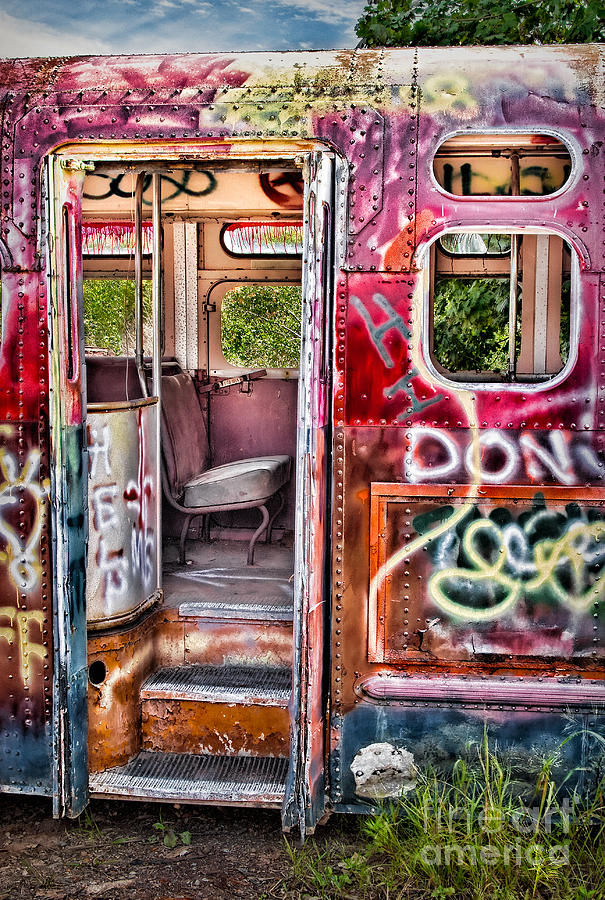 Haunted Graffiti Art Bus Photograph