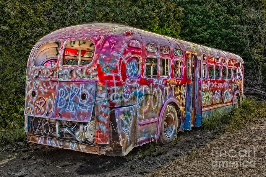Haunted Graffiti Bus II Photograph  - Haunted Graffiti Bus II Fine Art Print