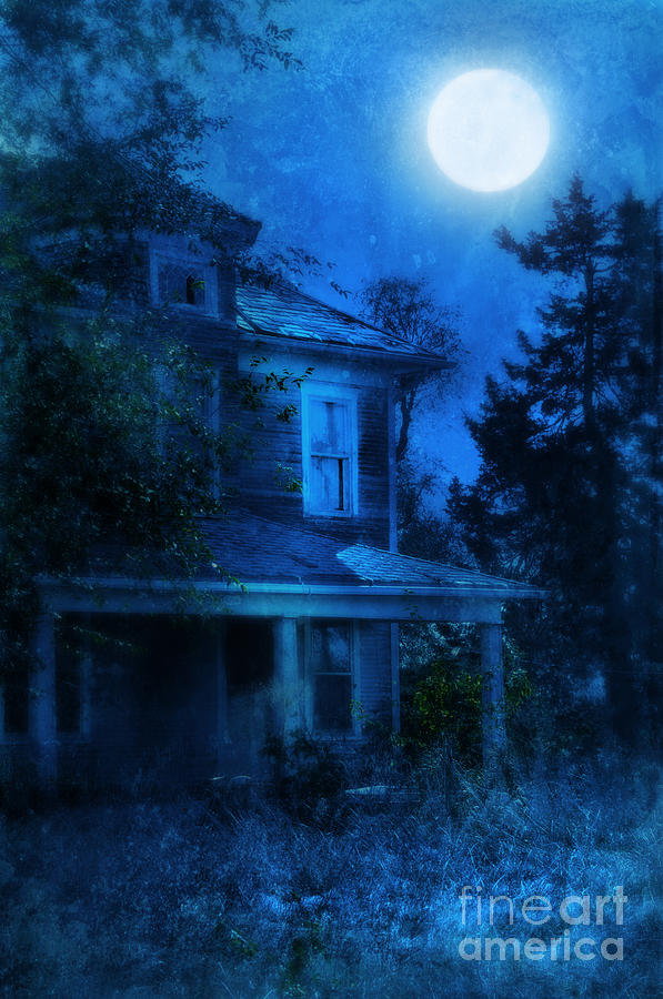 Haunted House Full Moon Photograph