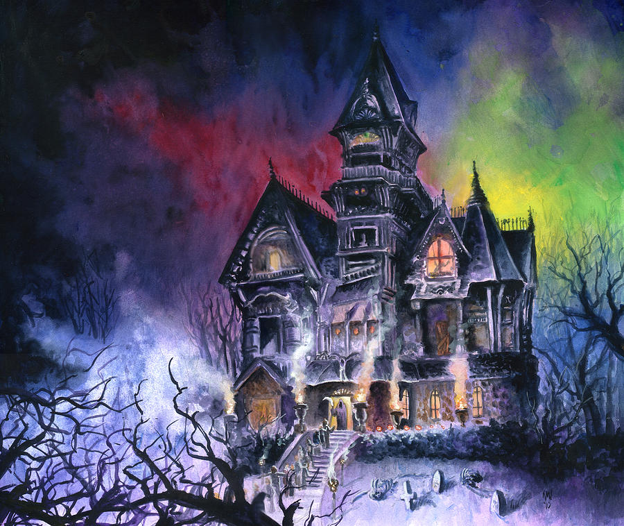 Haunted House Painting  - Haunted House Fine Art Print