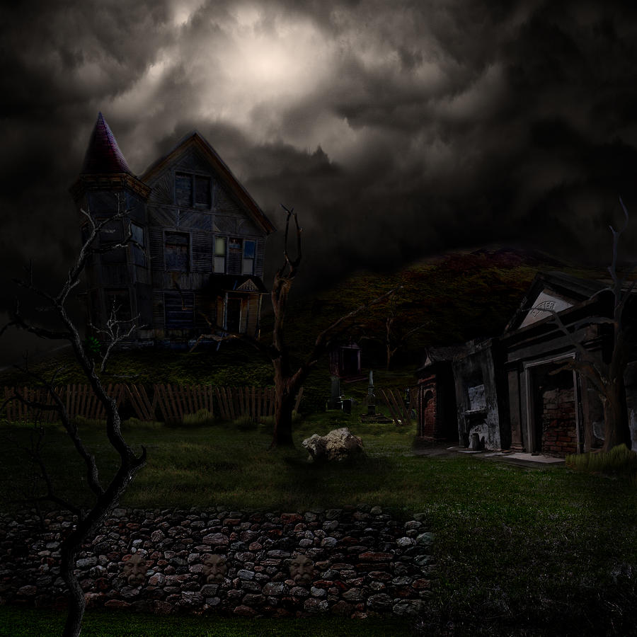 Haunted House Digital Art  - Haunted House Fine Art Print