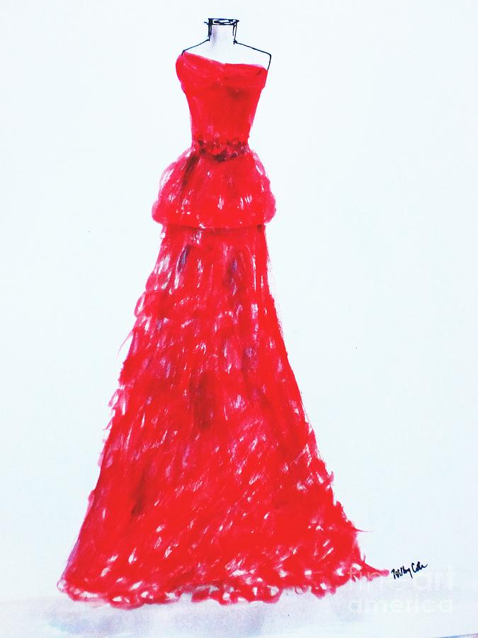 Red Fashion Painting - Haute Couture by Trilby Cole