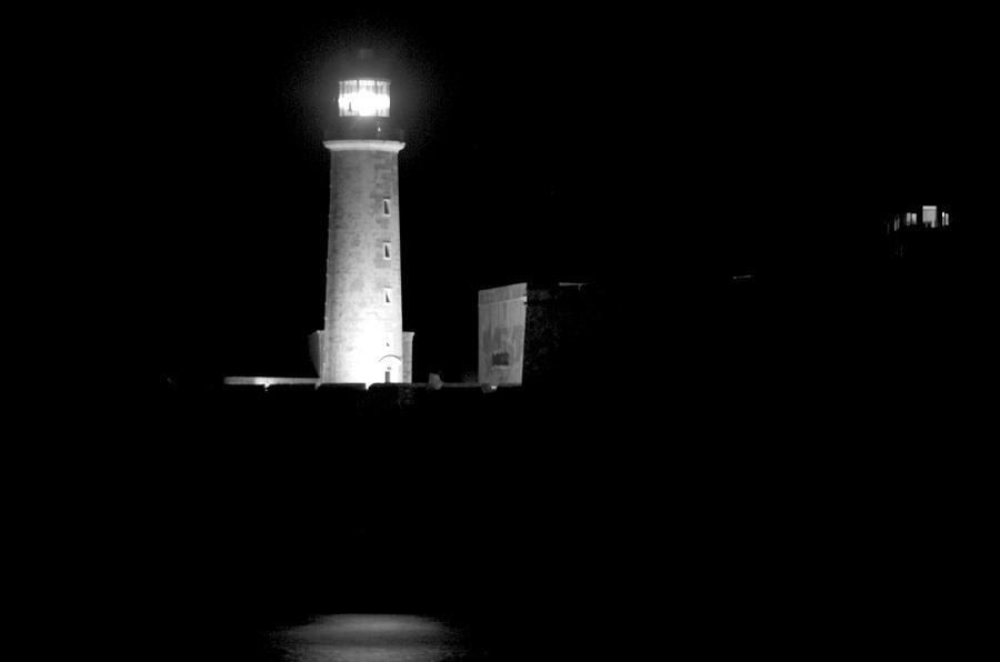 Havana Cuba Lighthouse At Night Black And White Photograph ...