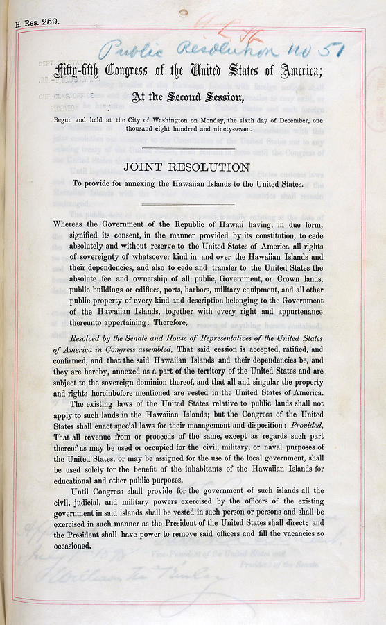Hawaii. Joint Resolution To Provide Photograph