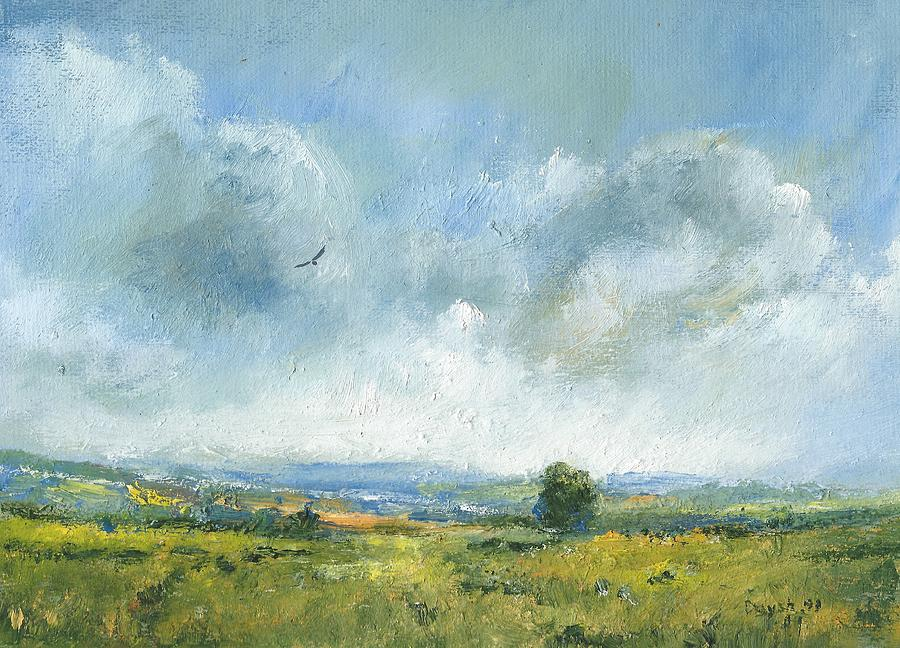 Landscape Painting Painting - Hawk Over The Yar Valley by Alan Daysh