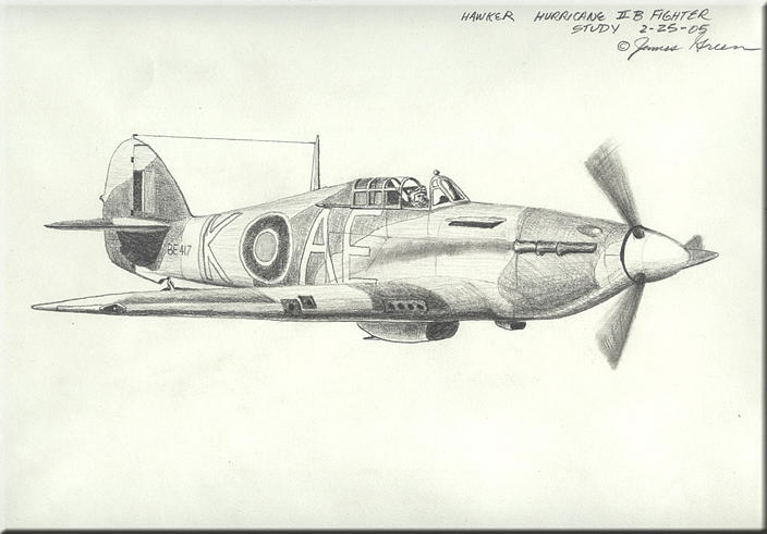 Hawker Hurricane Pencil Study Drawing