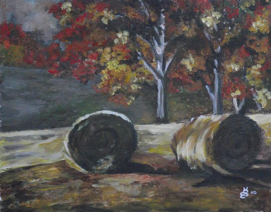 Hay Bales In Fall Painting  - Hay Bales In Fall Fine Art Print