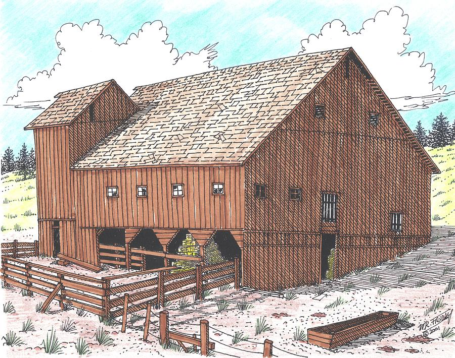 Hay Barn Drawing  - Hay Barn Fine Art Print