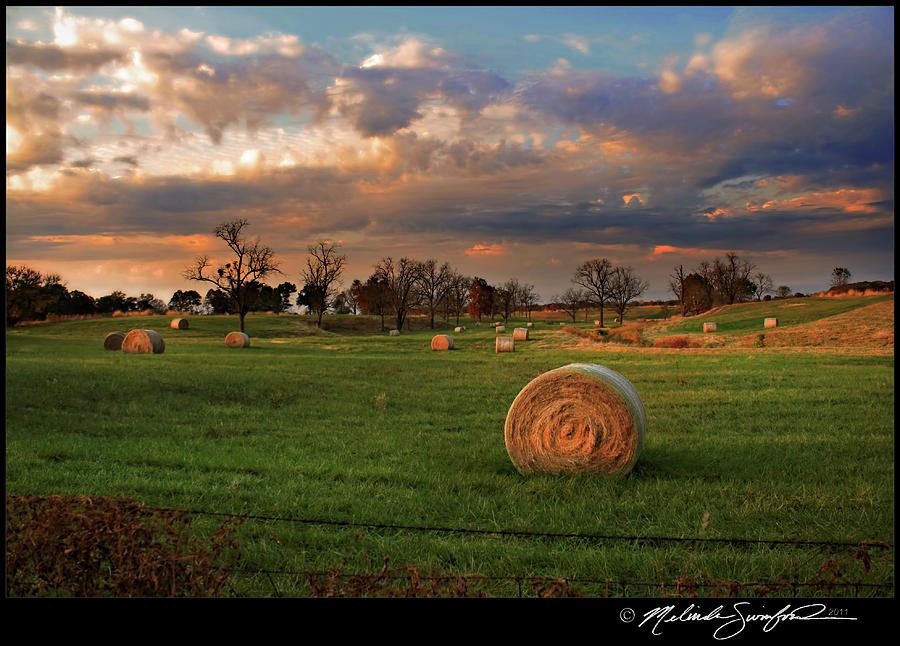 Haybales At Dusk Photograph