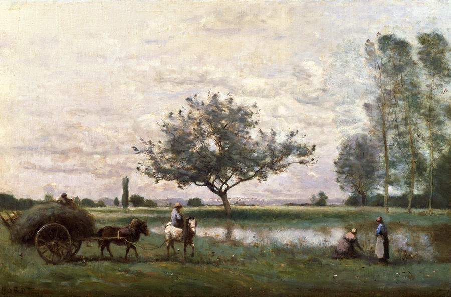 Haycart Beside A River  Painting