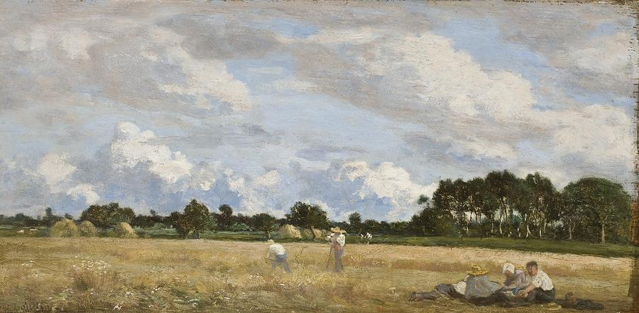 France Painting - Haymaking by Eugene Louis Boudin