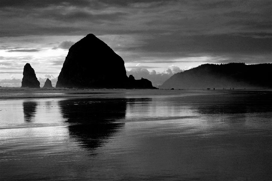 Beach Photograph - Haystack Rock Bw by Kami McKeon