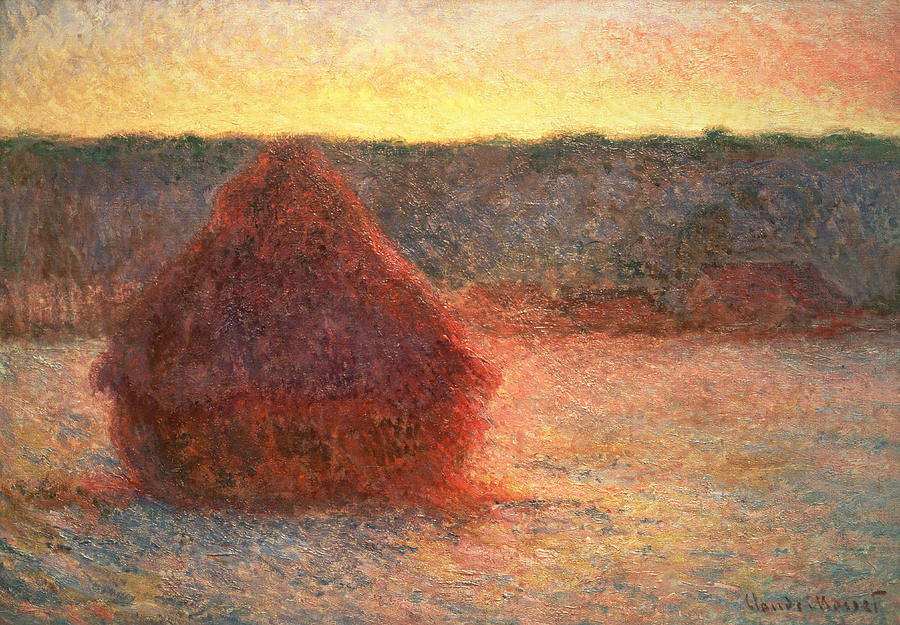 Haystacks At Sunset Painting  - Haystacks At Sunset Fine Art Print