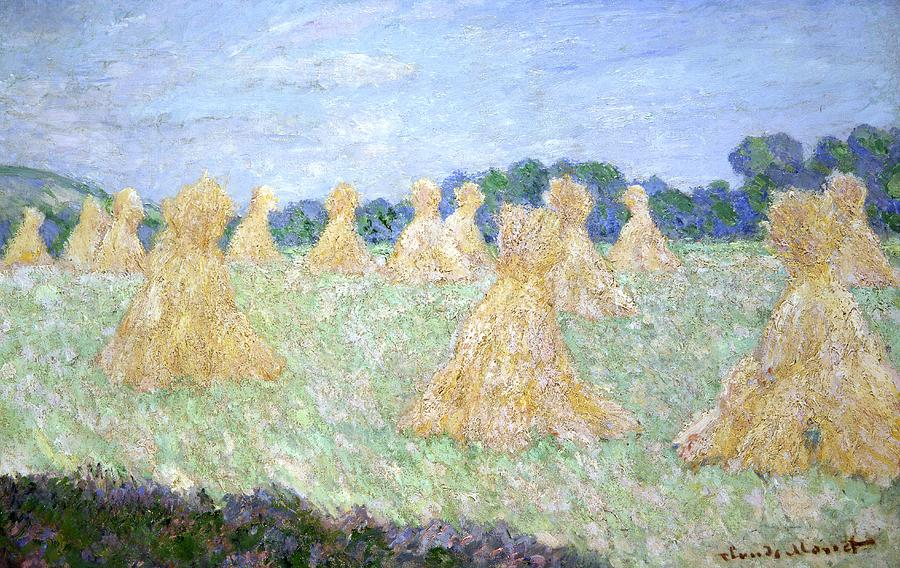 Haystacks The Young Ladies Of Giverny Sun Effect by Claude ...