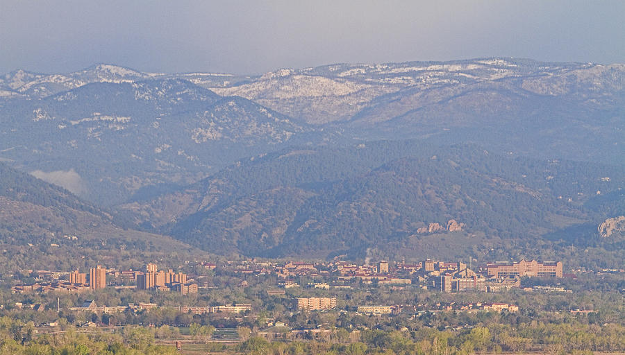 Hazy Low Cloud Morning Boulder Colorado University Scenic View  Photograph