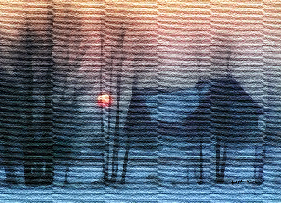 Hazy Winter Morning Painting  - Hazy Winter Morning Fine Art Print