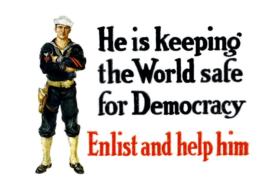 He Is Keeping The World Safe For Democracy Painting  - He Is Keeping The World Safe For Democracy Fine Art Print
