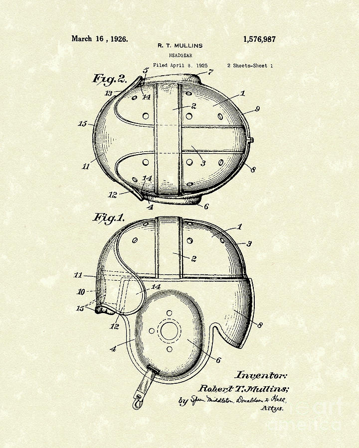 Headgear 1926 Patent Art Drawing